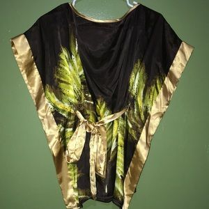 Brown, gold, and green knotted blouse